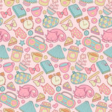 Sweet Home vector seamless pattern. Set of vector design home elements, cute cat, cups of coffee, cake, alarm clocks etc Royalty Free Stock Photography