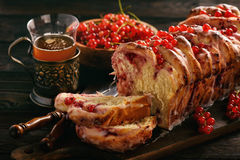 Sweet homemade bread with currant jam. Stock Image