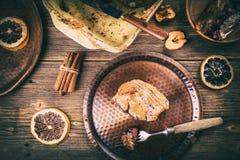 Sweet homemade bread pudding dessert Stock Photos