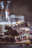 Sweet homemade brownies with chocolate and almonds Stock Image