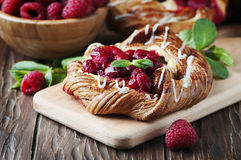 Sweet homemade cake with fresh berry and mint Royalty Free Stock Photo