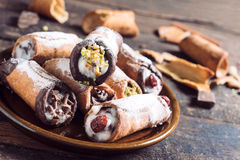 Sweet homemade cannoli Stock Photography