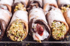 Sweet homemade cannoli Stock Images