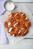 Sweet Homemade Cinnamon Buns with sour cream Stock Photography