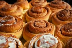 Sweet homemade cinnamon rolls baked with love Royalty Free Stock Photo