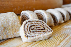 Sweet Homemade Cinnamon Rolls for Christmas with chocolate Royalty Free Stock Photography