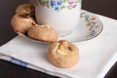 Sweet Homemade Cinnamon Rolls with raisin. Close up, horizontal Stock Images