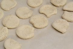 Sweet homemade cookies on a baking sheet royalty free stock photos