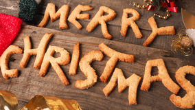 Sweet homemade cookies with the words Merry Christmas Stock Images