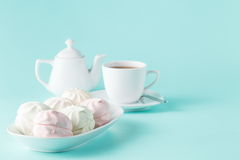 Sweet homemade dessert - berry marshmallow (zephyr) on a plain a Royalty Free Stock Images