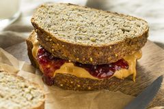 Sweet Homemade Gourmet Peanut Butter and Jelly Sandwich. For Lunch Royalty Free Stock Photo