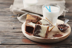 Sweet homemade marble cake with milk Stock Images