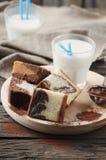 Sweet homemade marble cake with milk Stock Photo