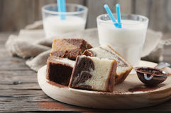 Sweet homemade marble cake with milk Stock Image