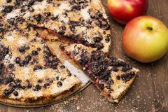 Sweet homemade pie quick cooking. With blueberries and Apple Stock Images