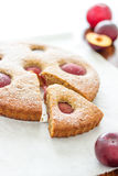 Sweet Homemade Plum Tart. This mouth-watering Plum Tart with Ricotta Cheese and Greek Yogurt is the right treat for your afternoon cuppa!  If you love juicy Royalty Free Stock Photography