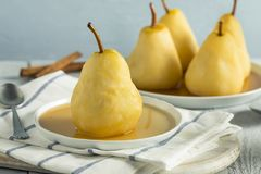 Sweet Homemade Poached Pears. In a Wine Sauce Royalty Free Stock Images