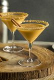Sweet Homemade Pumpkin Vodka Martini. With Cinnamon Royalty Free Stock Photography