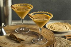 Sweet Homemade Pumpkin Vodka Martini. With Cinnamon Stock Photo