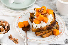 Sweet homemade sandwich with  pumpkin, cheese and nuts, selectiv Stock Photo