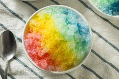 Sweet Homemade Shaved Rainbow Hawaiian Ice. In a Bowl royalty free stock photo