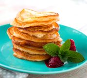Sweet Homemade Stack of Pancakes with Syrup for Breakfast. stock photo