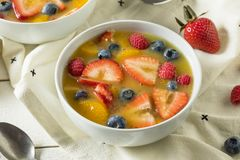 Sweet Homemade Strawberry Fruit Soup. With Blueberries and Oranges Royalty Free Stock Photo