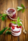 Sweet homemade yogurt with fruit jam Royalty Free Stock Photos