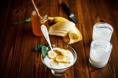 Sweet homemade yogurt with honey Royalty Free Stock Photos