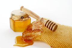 Sweet honey. Green and healthy bee honey Stock Photos