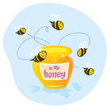 Sweet honey. Bees flying around sweet honey. Yumeee! Vector cartoon Illustration. See similar pictures in my portfolio Stock Photography