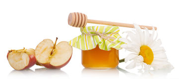 Sweet honey with apple and flower Royalty Free Stock Photos