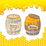 Sweet honey in barrel Stock Photos