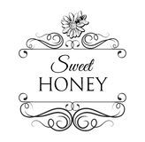 Sweet honey Bee label, badge, with honeycomb and jar. Filigree divider vintage frame. Vector Illustration. Sweet honey Bee on flower label, badge, with honeycomb Royalty Free Stock Photo