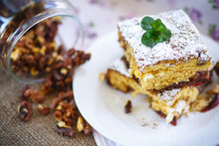 Sweet honey cake with nuts Stock Photography