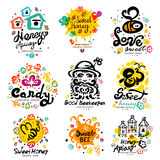 Sweet honey, candy characters. Apiary label. Sweet honey logo Stock Images