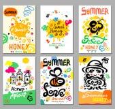 Sweet honey  card and illustrations. Sweet honey summer. Royalty Free Stock Photos