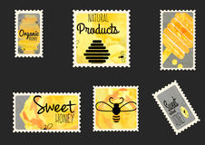 Sweet honey envelope stamps Royalty Free Stock Images