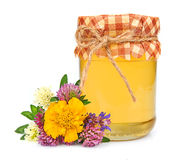 Sweet honey with flowers Royalty Free Stock Photo