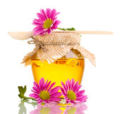 Sweet honey in jar with drizzler Stock Images