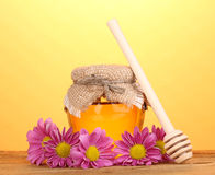 Sweet honey in jar with drizzler Stock Photos