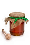 Sweet honey in jar with drizzler Royalty Free Stock Photos