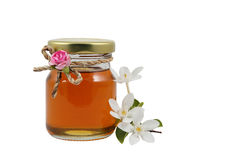 Sweet honey in jar. Isolated on white Royalty Free Stock Images
