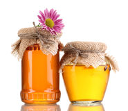Sweet honey in jars Stock Photos