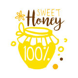 Sweet honey, 100 percent logo. Colorful hand drawn vector illustration. For honey and apiary products Stock Photography