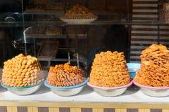 Sweet Honey in market. Meknes. Morocco. Sweet Honey on stall in market. Meknes. Morocco Royalty Free Stock Images