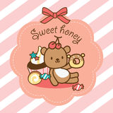Sweet honey. Sweety bear sitting with dessert stock illustration