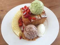 Sweet honey toast and ice cream Royalty Free Stock Photography