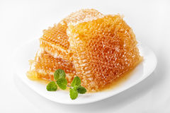 Sweet honeycomb. Sweet linden honeycomb with honey on a plate Royalty Free Stock Photography