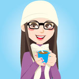 Sweet Hot Chocolate. Portrait of a beautiful brunette woman with glasses drinking a cup of sweet hot chocolate vector illustration